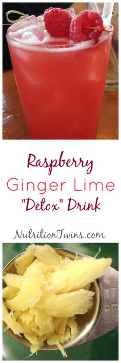 Raspberry Ginger Lime Detox | Start your day (or end it) with this to flush bloat, boost energy | Strengthen your immune system and ease digestion | For Nutrition & Fitness Tips & MORE RECIPES please SIGN UP for our FREE NEWSLETTER www.NutritionTwins.com