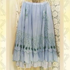 Image detail for -Embroidered Blue Prairie Maxi Skirt Layered Ruffles with Petticoat