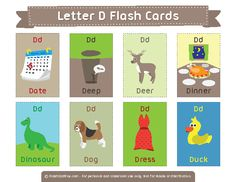 Free printable letter D flash cards. Download them in PDF format at http://flashcardfox.com/download/letter-d-flash-cards/