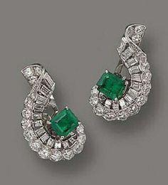 dangle wedding earring solid sterling silver 925 Green Emerald Baguette S Style #NIKI #DropDangle