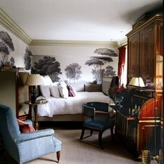 guest room ideas for city and country homes | Michael S. Smith - Zuber Wallpaper