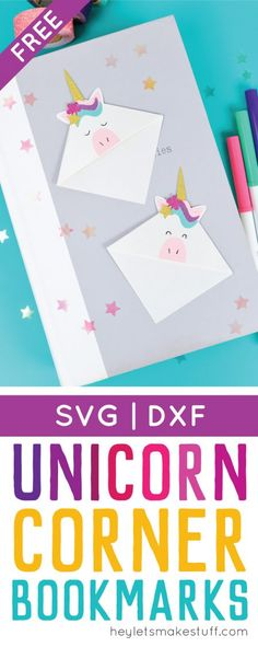 PIN THIS! Make these adorable little unicorn bookmarks! The perfect craft for any time you're diving into a particularly whimsical book. A FREE SVG and DXF download.