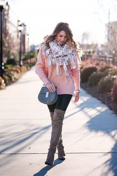 chunky pink scarf, pink blanket scarf, free people chunky scarf, gray and pink scarf, pink sweater, black spanx leggings, taupe over the knee boots, gray chloe purse, baublebar ball earrings, pink scarf, pink crochet scarf, winter fashion, winter outfit ideas, winter outfit inspo