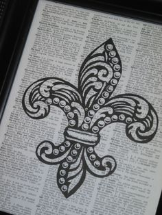 Fleur de Lis Art Print Upcycled Dictionary Art Fleur de Lis Print on a Vintage Dictionary Book Page 8 x 10 via Etsy
