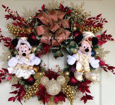 Disney Christmas Wreath Mickey and Minnie by SparkleForYourCastle