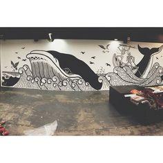 Finished wall at the @abandonship_glasgow store by myself and @iainsellar cheers @abandonshipapparel for having us! #illustration #mural #wallart #bigart #whale #ship #abandonship #skeleton #posca