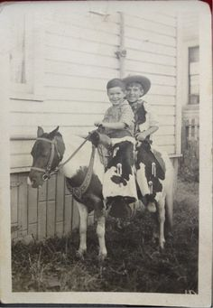Clayton and brother back in the day. About 1938.   Vintage photo of boys on pinto pony