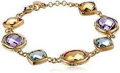 """18K Gold-Plated Sterling Silver Amethyst, Citrine, and Blue Topaz Bracelet, 7.25"""": Amazon Curated Collection Citrine #amazoncollection #bracelet See detail at http://zingxoom.com/d/cwHHJ76H"""