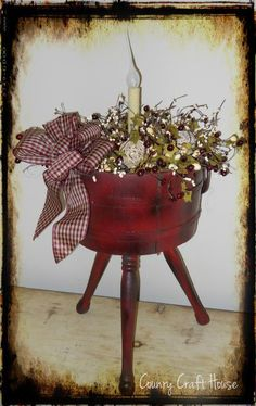 Country Craft House~Repurposed antique sewing/yarn basket Rustic Crafts, Country Crafts, Primitive Crafts, Country Decor, Decor Crafts, Diy Crafts, Christmas Lanterns, Christmas Decorations, Cute Crafts