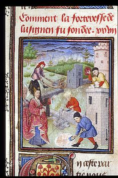 Melusine viewing the fortification of CHateau. Jean d'Arras, Roman de Mélusine, Harley 4418 f43v French, Circa 1450 British Library
