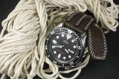 Dark Brown Double Padded Leather Watch Strap Handmade for your
