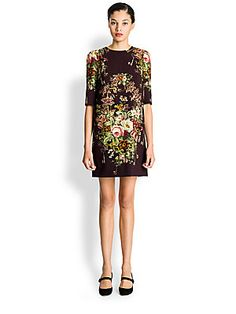 "Dolce & Gabbana Silk Cady Dress  Delicate florals and gilded keys make up the print of this romantic dress.  Round neckline Gathered shoulders Half sleeves Concealed back zipper Fully lined in silk About 32"" from shoulder to hem Rayon Dry clean Made in Italy"