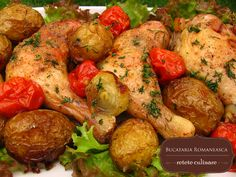 Chicken roast with tomatoes and new potatoes Steak Recipes, Cooking Recipes, Romania Food, Tasty, Yummy Food, International Recipes, Soul Food, Chicken Wings, Food To Make