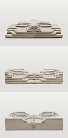 The DS-1025 sofa (lounge chair? sectional?), designed by Ubald Klug and available from De Sede, speaks to both my love of weird sofa-like things and of imaged landscapes. This strangely topographical design can be arranged in several different combinations for your lounging pleasure.