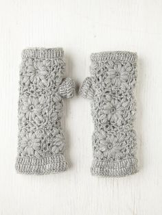 #Crochet Armwarmer's  Lined With Fleece ~ Inspiration, no pattern.