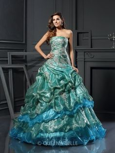 Ball Gown Sleeveless Sweetheart Tulle Applique Floor-Length Dresses - Ball Gowns for Prom - Prom Dresses - QueenaBelle.com