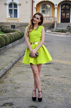 Hot chartreuse dress with super cute pleats.