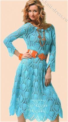 Oi amigas!   Mais um lindo vestido em croche com ponto abacaxi:                Espero que gostem!   bjo   Veraxangai                       ...