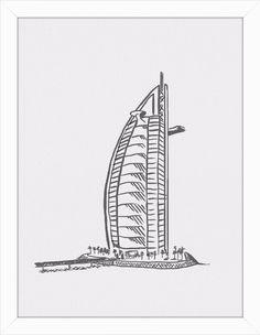 Quadro Hotel Burj Al Arab Minimalista por On The Wall #quadro #moldura #poster…