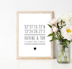 custom poster weddingcoordinatesname pairsgift by WeJustLikePrints