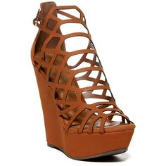 Breckelle's Vivi Platform Wedge Sandal ($25) ❤ liked on Polyvore featuring shoes, sandals, tan, ankle strap platform sandals, ankle strap sandals, wedge shoes, ankle tie sandals and platform wedge shoes