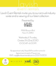 It's happening!Our sister company @LavishEventRentals is holding a mini version of our annual industry soiree! Youre invited to come see our latest collection to inspire your upcoming 2021 events. Guests will join by appointment only on Wednesday October 21st and Thursday October 22nd from 10:00am-6:00pm To reserve your spot email: rsvp@lavisheventrentals.com or call (305) 731-2203! We can't wait for you to see what we have in store for you! Thursday, Wednesday, 2 Instagram, Youre Invited, Appointments, Rsvp, October, Join, 21st