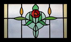 STUNNING MACKINTOSH ROSE ANTIQUE STAINED GLASS WINDOW | eBay