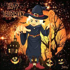 Kawaii Halloween, Disney Halloween, Happy Halloween Gif, Halloween Prints, Halloween Items, Halloween Pictures, Creepy Halloween, Holidays Halloween, Vintage Halloween