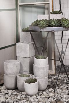 Zinc table concrete pots.                           Pinned to FOR . THE . HOME