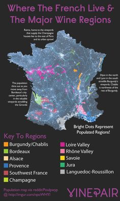 Map: French Population Vs Wine Regions #wine #france #wineeducation