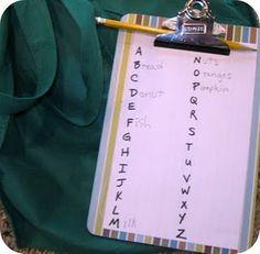Alphabet scavenger hunt. idea to keep the kids busy?