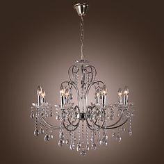 moderne kaars kristallen kroonluchters uitgerust met 8 lampen – EUR € 247.49