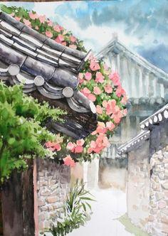 남일 수채화 Gallery Watercolor Architecture, Watercolor Landscape, Watercolour Painting, Watercolor Flowers, Painting & Drawing, Landscape Paintings, Watercolor Lesson, Korean Art, Asian Art