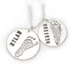 #personalized #babyprints #actualprints #footprints #handprints #customizedsilverfootprintpendant #twinjewelry www.mybabyprints.com Great for twins!