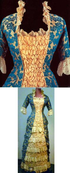 Princess-line evening gown, 1878-80. Jacquard silk and ruched silk.
