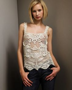 From Outstanding Crochet. Here is a lovely example of adding extra motifs, stitching, etc. to filet to add texture and design interest~CAWeStruck Filet Crochet, Débardeurs Au Crochet, Irish Crochet, Crochet Tank Tops, Crochet Cardigan, Knit Fashion, Crochet Clothes, Crochet Patterns, Yandex Disk