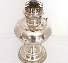 Genuine c1905 Rayo Kerosene Oil Lamp Nickel Base with Burner and Flame Spreader