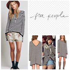 """Free People Stripe Textured Swing Tunic.  NWT. Free People Oversized Lightweight Textured Striped Swing Tunic, 75% cotton, 16% acrylic, 9% nylon, washable, 20"""" armpit to armpit (40"""" all around), 35"""" length, 19.5"""" arm inseam, slinky low back, slug texture allover, measurements are approx.  No Trades... Free People Tops"""