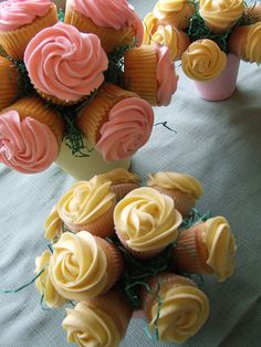 cupcake bouquets, I've bought the Wilton nozzle to do Rose icing and my cake designer friend has told mr how to do these. The picture seals the deal, I'm gonna try this.
