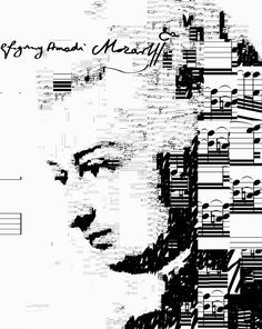 Mozart self portrait - (sheet music from Requiem Mass in D minor K. 626)