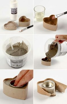 Making small heart shaped candlesticks yourself. More Making small heart shaped candlesticks yourself.Make your own modern Advent wreath yourself – 18 ideas and inspirations Make small candlesticks in heart shape yourselfportacandele in cemento - concre Concrete Pots, Concrete Crafts, Concrete Projects, Concrete Design, Diy Projects, Concrete Planters, Home Crafts, Diy And Crafts, Cement Art