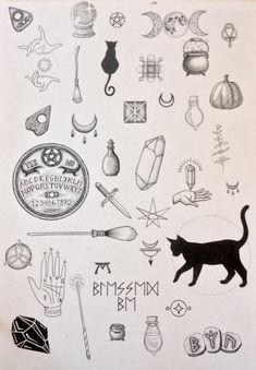 Cool tatouage épaule femme, tatouage mollet dessin a faire soi meme, theme sorcieres, halloween images