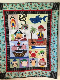 Anne made this from Amy Bradley Designs Pirates for Boys & Girls quilt pattern Quilting Ideas, Quilting Projects, Sewing Projects, Children's Quilts, Girls Quilts, Patchwork Patterns, Quilt Patterns, Baby Boy Applique, Twin Quilt