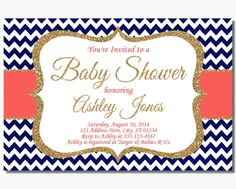Navy and Coral Baby Shower Invitation by PuggyPrints on Etsy, $7.99