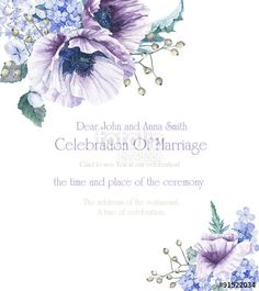 """Download the royalty-free photo """"Frame with flowers. Invitation card. Blue poppies and roses. Background for your text. Suitable for background for wedding, birthday and so on."""" created by inna72 at the lowest price on Fotolia.com. Browse our cheap image bank online to find the perfect stock photo for your marketing projects!"""