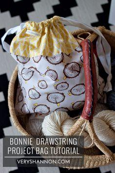 Bonnie Drawstring Project Bag Tutorial