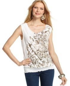Style Top, Sleeveless Cowl Neck Printed Studded - Womens Tops - Macy's