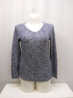 SIZE XL Women Brushed Knit Top NO BOUNDARIES Marl Blue Long Sleeves V-Neck #NoBoundaries #KnitTop #Casual