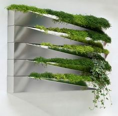 Designed by Jean-Jacques Hubert for Compagnie, the Grass Mirror is an indoor window box of highly reflective polished stainless steel that is wall mountable. They are sold as individual boxes but can stack upon one another like the images shown.