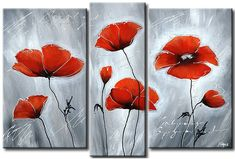 Cuadro+decorativo+Amapolas+frías Easy Canvas Art, Modern Canvas Art, Abstract Canvas Art, Canvas Wall Art, 3 Canvas Paintings, Poppy Flower Painting, Glass Painting Patterns, Acrylic Painting Techniques, Painting Videos